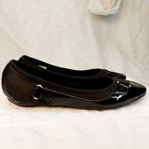 Black Patent leather sporty flat slip on  size 7